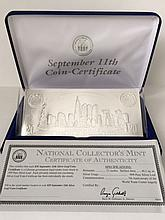 Sep 11th .999 Pure Silver Leaf $20 Coin Certificat