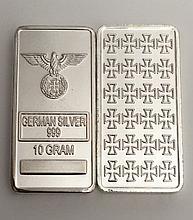 10 Gram NAZI GERMANY .999 Silver clad Bullion Bar