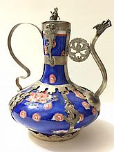 Old Chinese Porcelain/Silver Dragon/Monkey Teapot