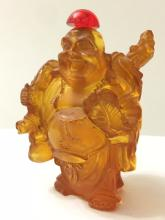 Old Carved Chinese Amber BUDDHA Snuff Bottle