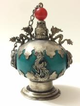Antique Chinese Silver/Dragon/Lion Snuff Bottle