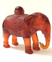 Old Chinese Carved Amber Elephant Snuff Bottle