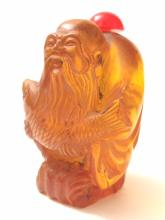 Old Carved Chinese Amber IMMORTAL Snuff Bottle