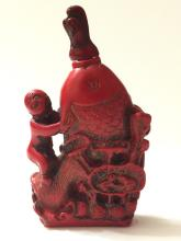 Early Carved Chinese Coral Figural Snuff Bottle