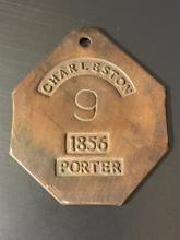 Dated 1856 Black Americana Slave Brass I.D. Tag
