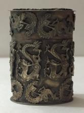 Antique Chinese Silver Dragon & Phoenix Snuff Box