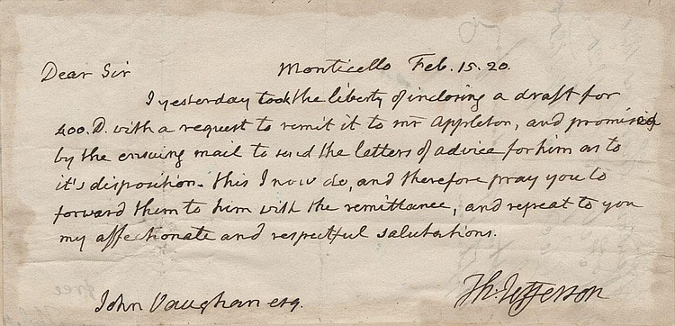Thomas Jefferson Handwritten and Signed Letter
