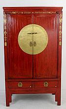 Armário oriental em madeira lacada de encarnado