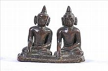 A VERY NICE TWIN THAI BRONZE STATUE OF BUDDHAS