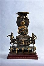 A LARGE GILT COPPER STATUE OF SEATED BUDDHA WITH ATTENDANTS