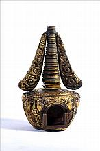 A NICE 18TH CENTURY TIBETAN GILT COPPER STUPA