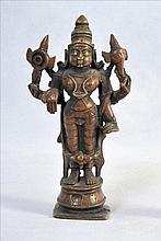 A VERY FINE HINDU  BRONZE STATUE OF GODDESS LAKSHMI