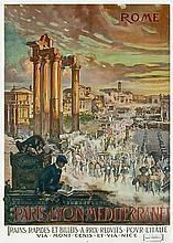 CARLO CUSSETTI Rome. Paris-Lyon-Mediterranée - Trains rapides et billets à prix réduits pour l'Italie