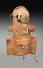 Rare masque en vannerie Jipae en fibres de rotin. Il s'agit