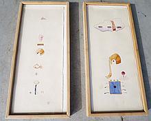 Pair of Ciel Bergman original watercolors Cheryl Bowers