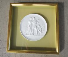French Empire Décor Figural Classical Porcelain Medallion  Framed