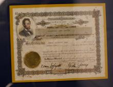 Pair of Framed Patriotic Stock Certificates Abraham Lincoln and American Eagle Oil Derricks