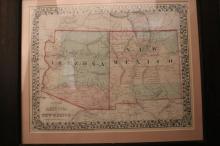 Vintage Framed hand Tinted Arizona New Mexico Map