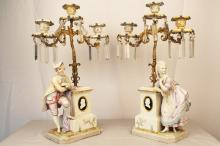 Pair of very fine 19th C Bisque Porcelain Bronze and Enamel figural Girandoles