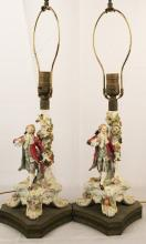Group of 3 French Genre'  figural porcelain Boudoir lamps  (2 matching and 1 similar)