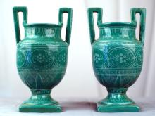 Pair of Deruta Italian Pottery jadeite Green White Lace handled vases
