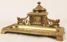 Elegant Victorian Brass Desk Top Executive Inkwell Winged Griffins Sphinx