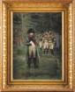 EDOUARD JEAN-BAPTISTE DETAILLE (1848-1912) « C'est Lui », Napoléon 1er et son Etat-major Huile et gouache signée et datée en bas à droite « Edouard Detaille 1894 » Important et très beau cadre en bois et stuc doré à palmettes. 67 x 48 cm (petites