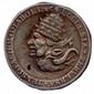 Médaille satirique allemande de la Réforme (Concile de Trente) en étain représentant le pape et le diable tête-bêche et un cardinal et un bouffon tête-bêche avec les légendes : « les sages sont parfois des imbéciles » et « l'église perverse à le