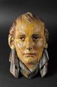 ECOLE FRANÇAISE DU XIXE SIECLE. « Portrait de l'Empereur Napoléon Ier ». Belle sculpture en bois polychrome à suspendre.  43 x 27 cm. A.B.E. (fêle, manque à une oreille).