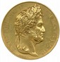 Médaille en or à l'effigie de LOUIS-PHILIPPE Ier, roi des Français des graveurs Depaulis et Gayrard   Aux Arts Utiles Exposition à Paris 1834. Sur la tranche : lampe à huile.  (Ø 57mm , 137,50g)  Très beau.
