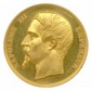 Médaille en or à l'effigie de NAPOLÉON III frappée pour commémorer l'achèvement du Louvre  inauguré le 14 août 1857 et offerte par l'empereur à Alexandre Morand. Graveur Barre.  Ecrin d'origine en galuchat (Ø 41,5mm , 55,80g). Flan bruni. F.D.C.