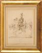 HENRI REGNAULT (1843-1871) ECOLE FRANÇAISE DU XIXE SIECLE « Charles Ferdinand, Duc de Berry » Encre brune et lavis, monogrammée HR en bas à gauche Sous verre. Cadre doré 23 x 17 cm