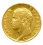 Lot de quatre pièces de 20 Francs à l'effigie de Napoléon Ier (tête nue) :  an 13 Paris (2 ex.), *an 14 Paris et 1806 Paris.  T.B
