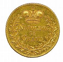 Napoléon 1er Bataille de WaGram 6 juillet 1809 Légende : NAPOLEON LE GRAND entre deux branches de feuillage chêne et laurier surmontée d'une couronne impériale. Dessous, F.L. R/. légende circulaire : BATAILLE DE WAGRAM 6 JUILLET 1809 et en 12 lignes