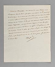 NAPOLÉON Ier. Lettre signée « Napole » à Jean-Baptiste de Nompère de Champagny. Château de Finckenstein [actuellement Kamieniec en Pologne, entre Dantzig et Varsovie], 18 avril 1807. 1/2 p. in-4. « Vous recevrez des notes relatives aux renseignements