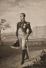 BOSIO, D'APRES « S.A.I. Le Prince Eugène Napoléon »  Rare gravure par Louis Rados à Milan, aux Grandes Armes du Prince.  75 x 51 cm.  A.B.E.