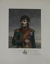 GREGORIUS, D'APRÈS.  « Eugêne Napoléon, vice roi d'Italie. »  Gravure aquarellée par Ruotte, aux Grandes Armes d'Eugène. 45 x 33 cm. B.E.