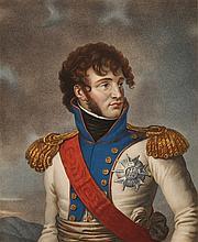 GROS, D'APRES.  « Son Altesse Impériale le Prince Joachim. » Gravure aquarellée par Ruotte, aux Grandes Armes de Murat.  45 x 33 cm.  B.E.