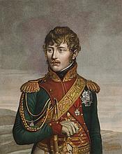 CHINARD, D'APRES.  « Eugêne Napoléon Vice Roi d'Italie.» Gravure aquarellée par Ruotte, aux Grandes Armes d'Eugène. 45 x 33 cm. B.E.