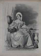 GIGOUX, D'APRES.  « Caroline Murat ».  Grande gravure.  57 x 40 cm.  A.B.E. (Légèrement insolé).