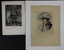LAFOND, DAPRES.  « S.Asse Jles Bernadotte, Prince Royal de Suède et Désiré Clary son épouse. » Gravure en couleurs par Choubard.  54 x 38 cm.  B.E.On y joint : une gravure de Poniatowsky (35 x 25 cm).