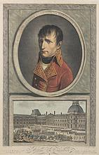 APPIANI, D'APRES. « Buonaparte ».  Grande gravure aquarellée par Tassaert.  60 x 42 cm.  A.B.E. On y joint : une grande gravure en couleurs de Napoléon d'après R. Lefevre (60 x 44 cm).