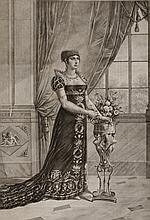 BOSIO, D'APRES « Marie Anne Eliza Saeur de Napoléon le Grand »  Gravure par Ambrosi à Venise en 1811 aux Grandes Armes de la Princesse.  75 x 51  cm.  A.B.E.