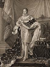BARON GERARD, D'APRES.  « Joseph Bonaparte, Roi d'Espagne. » Belle et grande gravure par Pradier en 1813.  66 x 55 cm.  B.E.