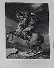DAVID, D'APRES.  « Bonaparte au Mont Saint Bernard » Lithographie par Blaisot.  66 x 46 cm. A.B.E. (Déchirures en bordure).