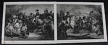 MARTINET, D'APRES. « La bataille d'Aboukir. »  « Pardon accordé aux révoltés du Caire. »  Deux gravures par Gabriel.  53 x 67 cm.  A.B.E. (Petites tâches ne touchant pas le sujet)