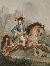 BOILLY, D'APRES.  « Bonaparte, premier consul de la République française. »  Belle eau forte en couleurs, gravée par Levachez. 40 x 28 cm A.B.E. Bordures insolées