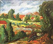 HENRI EPSTEIN (1892-1944) Paysage du Midi animé Huile sur toile Signé en ba