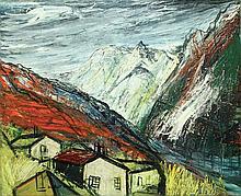MICHEL-MARIE POULAIN (1906-1991) Alpes Huile sur toile Signée en bas à gauc