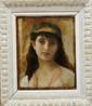 Attribué à Jean-Jacques HENNER (1829-1905) Portrait de femme à l'orientale Huile sur toile signée en bas à droite (restauration) 21 x 33 cm